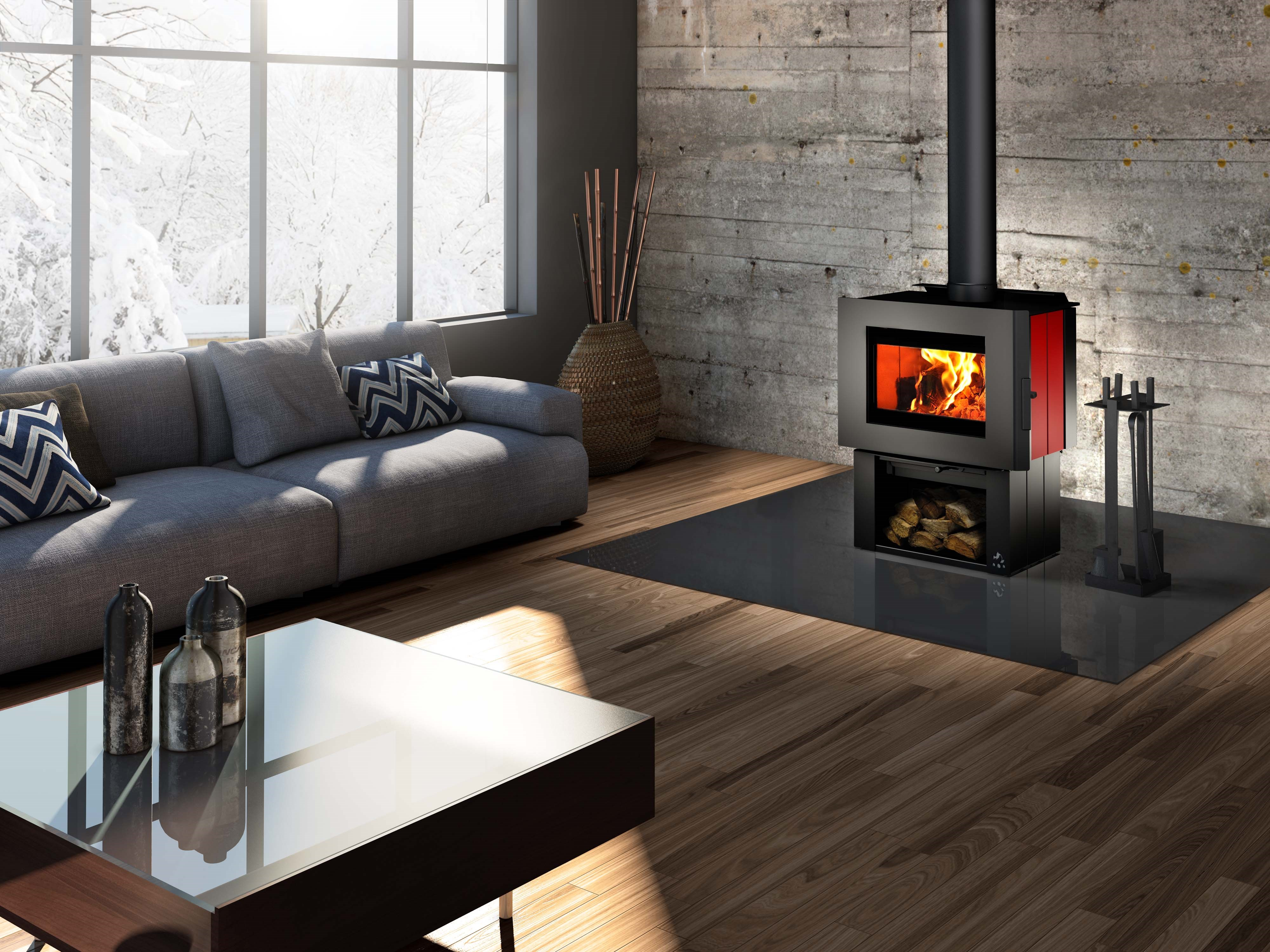 heat building freestanding wood products services heating glo stove cooling fireplace curve specifier